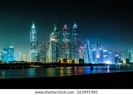 Modern buildings in Dubai Marina, Dubai, UAE. In the city of artificial channel length of 3 kilometers along the Persian Gulf, taken - stock photo
