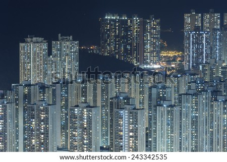 modern buildings in Hong Kong at night - stock photo
