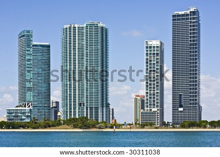 Modern buildings in the city of Miami Florida - stock photo
