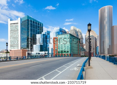 Modern buildings in The financial district in Boston - USA - stock photo