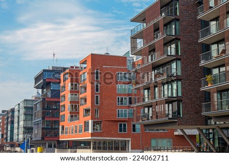 Modern buildings in the Hafencity in Hamburg - stock photo