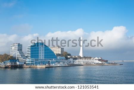 Modern buildings on the beach - stock photo