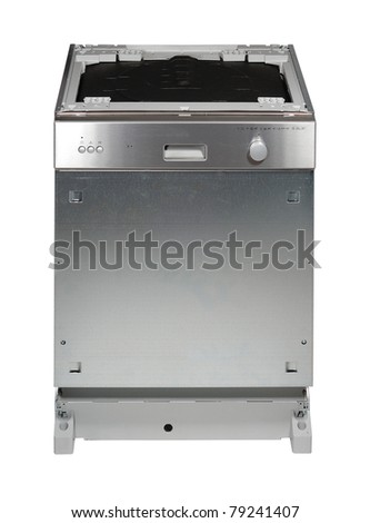 Modern built in dishwasher isolated on white - stock photo