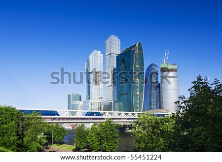 modern built the skyscrapers in the city - stock photo