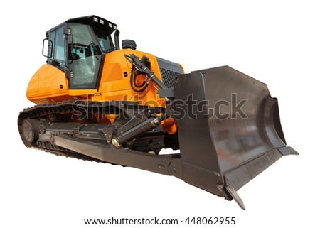 Modern bulldozer excavator equipment isolated with clipping path - stock photo
