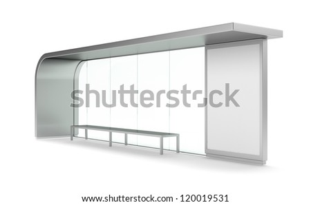 Modern bus stop with blank banner - stock photo