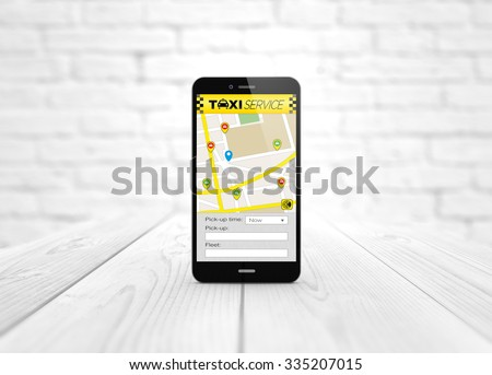 modern business and communications concept: digital generated smart phone over wooden table with taxi application. All screen graphics are made up. - stock photo
