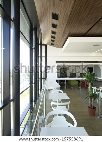 Modern business and shopping building interior