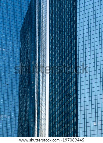 Modern business architecture in detail, structure of glass facades Fascinating modern architecture in one of the most dynamic business environments in Europe - stock photo