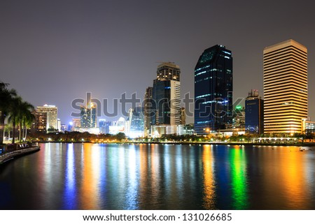 Modern business area at night in Bangkok, Thailand