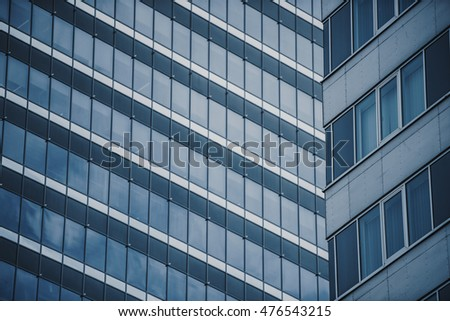 Modern business building in blue tone