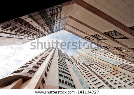 modern business building in megalopolis. Moscow. New district. - stock photo