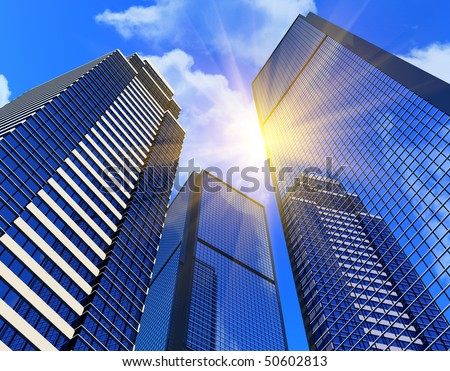 Modern business buildings - stock photo