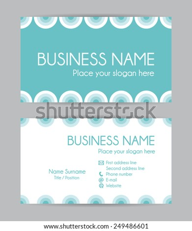 Modern business card. Flat design. Front and back set I. - stock photo