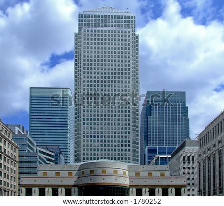 Modern business centre with office buildings in Canary Wharf - stock photo