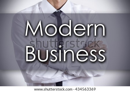 Modern Business - Closeup of a young businessman with text - business concept - horizontal image