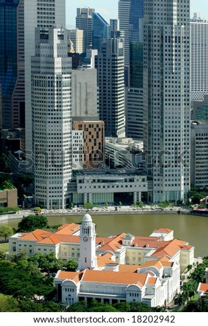 Modern business district and colonial Boat Quay, Singapore - stock photo