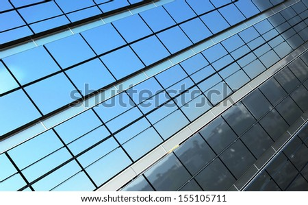 Modern business landscape reflected in building facade