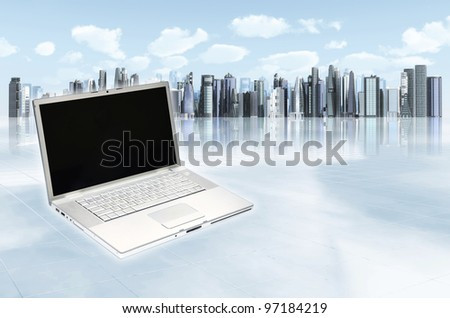 Modern business laptop template. Illustrated with an elegant laptop with futuristic and modern architectural cityscape background. You can change the laptop screen to suit your needs - stock photo
