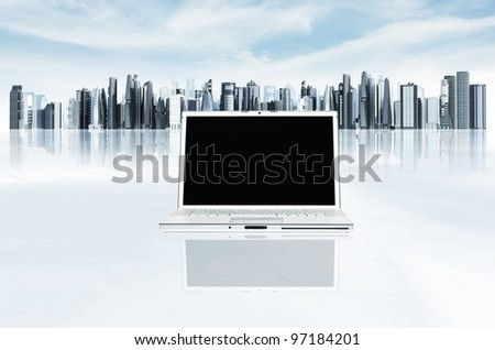 Modern business laptop template. Illustrated with  elegant laptop with futuristic and modern architectural cityscape background. You can change the laptop screen to suit your needs - stock photo