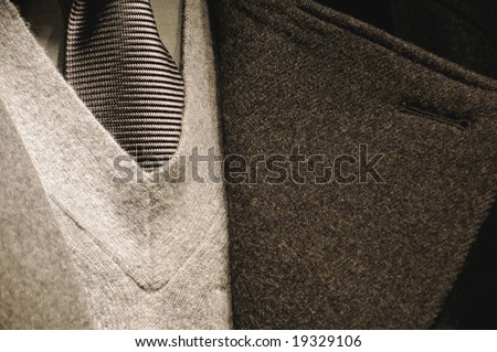 Modern business man suit with tie - fashion collection - stock photo