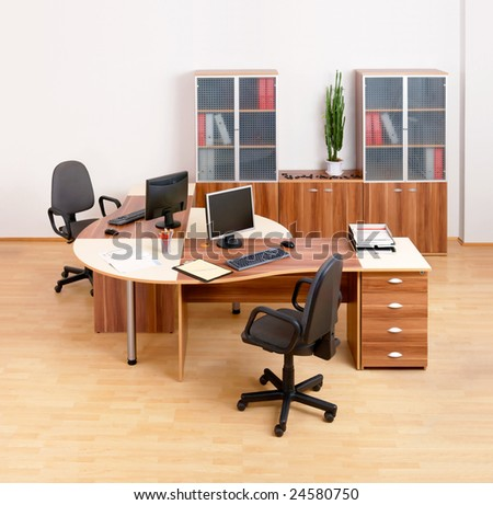 Modern business office with two workplaces.