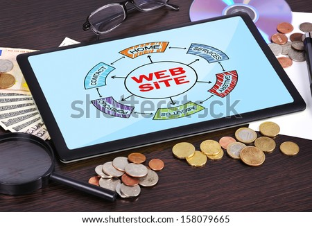 Modern business office workplace: tablet with scheme website - stock photo