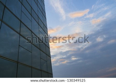 modern business window and blue sky - stock photo