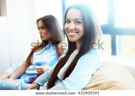 Modern business woman in the office with copy space. Blurred,sunlights - stock photo
