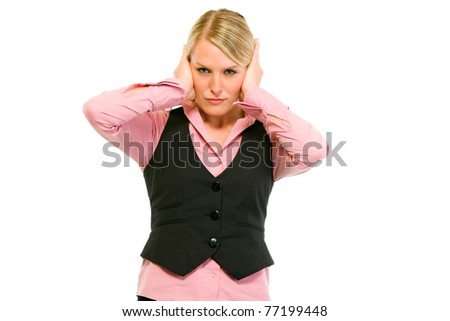 Modern business woman making hear no evil gesture isolated on white - stock photo