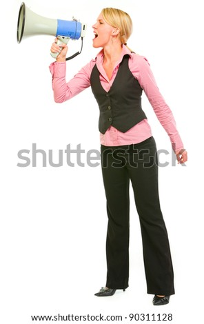 Modern business woman shouting through megaphone - stock photo