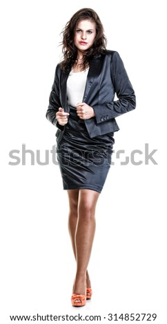 Modern business woman smiling and looking, full length portrait isolated on white background. - stock photo