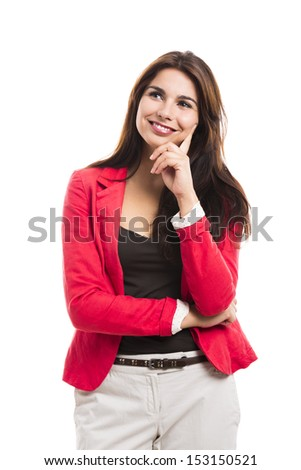 Modern business woman smiling and thinking, isolated over a white background - stock photo
