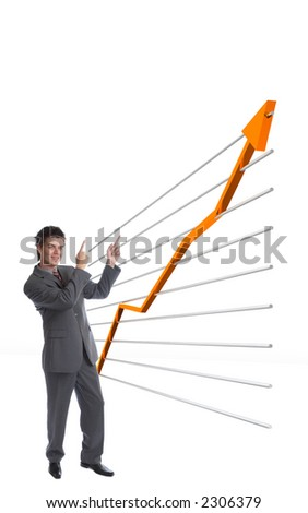Modern Businessman pointing towards growing finance chart
