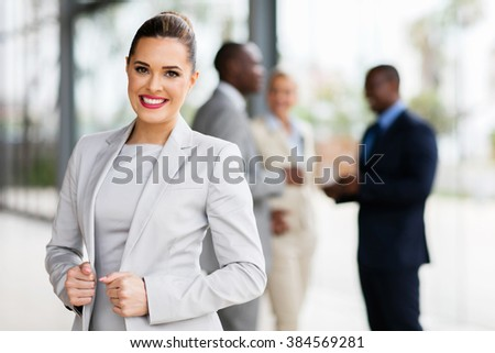 modern businesswoman in office looking at the camera - stock photo