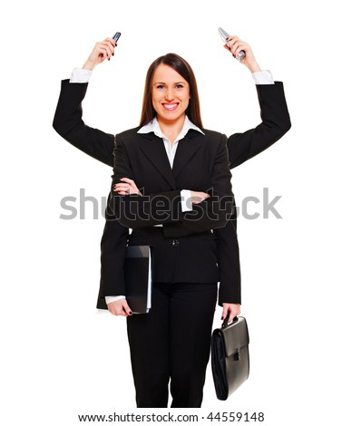 modern businesswoman ready for job. isolated on white - stock photo