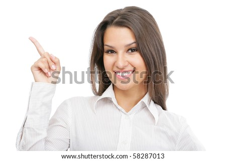 Modern businesswoman with  one hand up