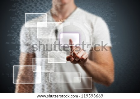 Modern buttons on a virtual background - stock photo