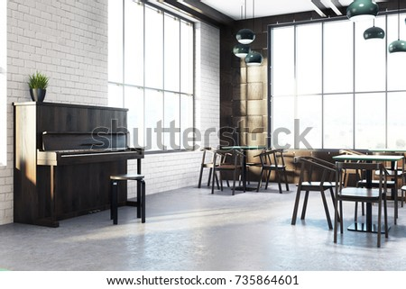 modern cafe interior corner with wooden walls a concrete floor square tables and wooden - Concrete Cafe Interior