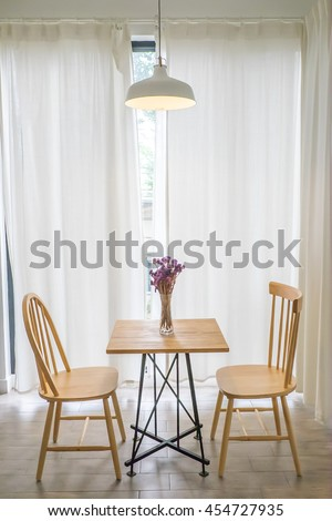 Modern Cafe Interior Table Chairs in the living room