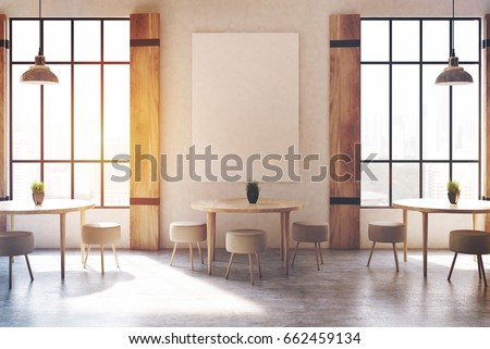 modern cafe interior with concrete walls and floor wooden shutters at tall windows round - Concrete Cafe Interior