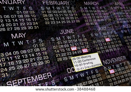 Modern calendar, clip-art, background - stock photo