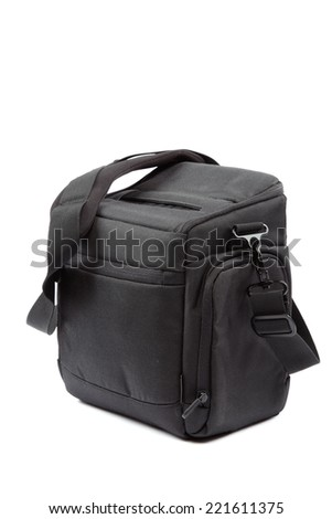 Modern Camera bag isolated on white background.