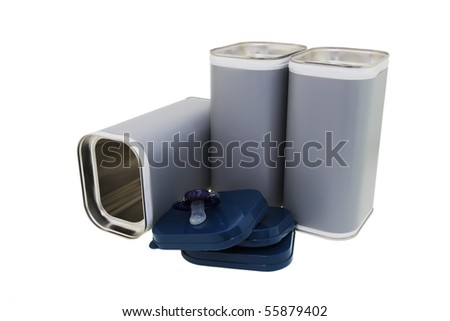 Modern cans for dairy drink powder. - stock photo