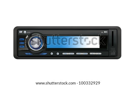 Modern car audio system isolated - stock photo