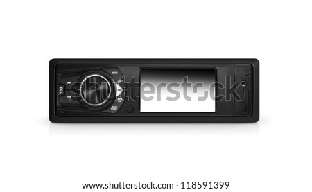 Modern car audio system isolated with clipping path over white - stock photo