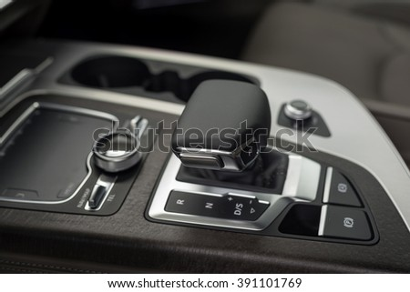 Modern car automatic transmission. Interior detail.
