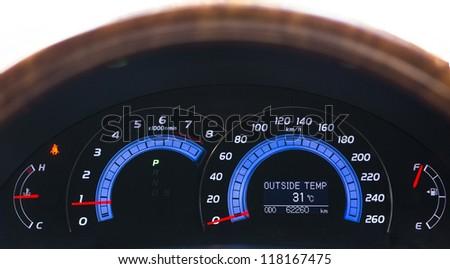 Modern car Dashboard show outside temperature - stock photo