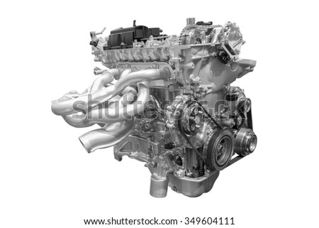 Modern car engine of concept car isolated on white background with clipping path - stock photo