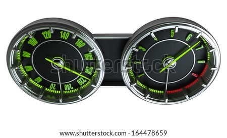 Modern car illuminated dashboard isolated on white background High resolution 3d  - stock photo
